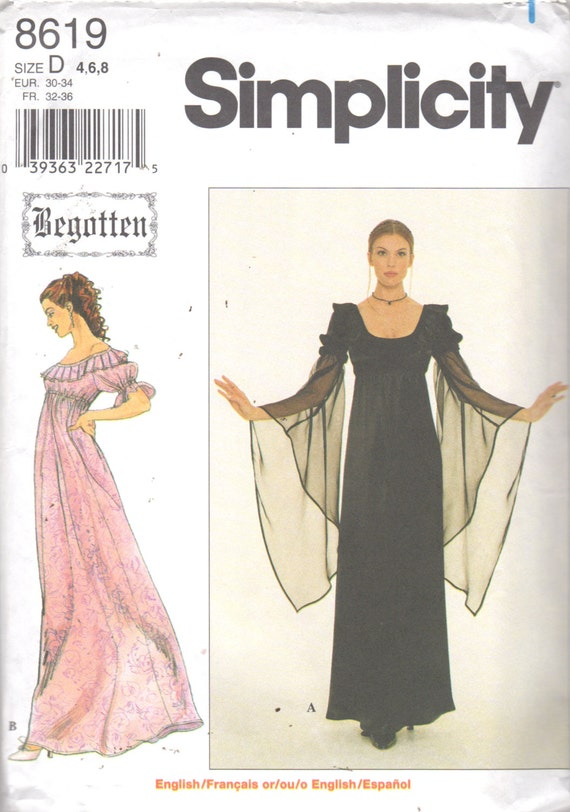 Simplicity 8619 Misses Renaissance Dress Pattern Empire Angel | Etsy