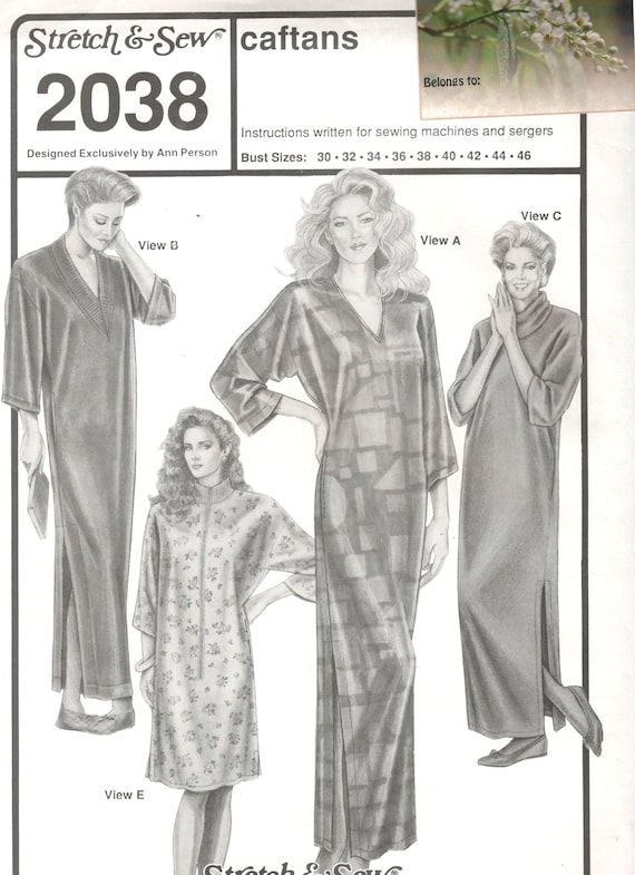 Stretch & Sew 2038 Misses Caftans Pattern V Neck Cowl Mock | Etsy