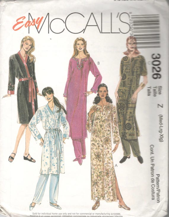 McCalls 3026 Misses Robe Caftan and Pull On Pants Pattern  c69a96df0