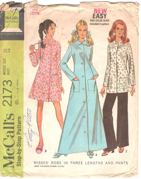 McCalls 2173 1960s Misses Robe in Three Lengths and Pants  90a4bebce