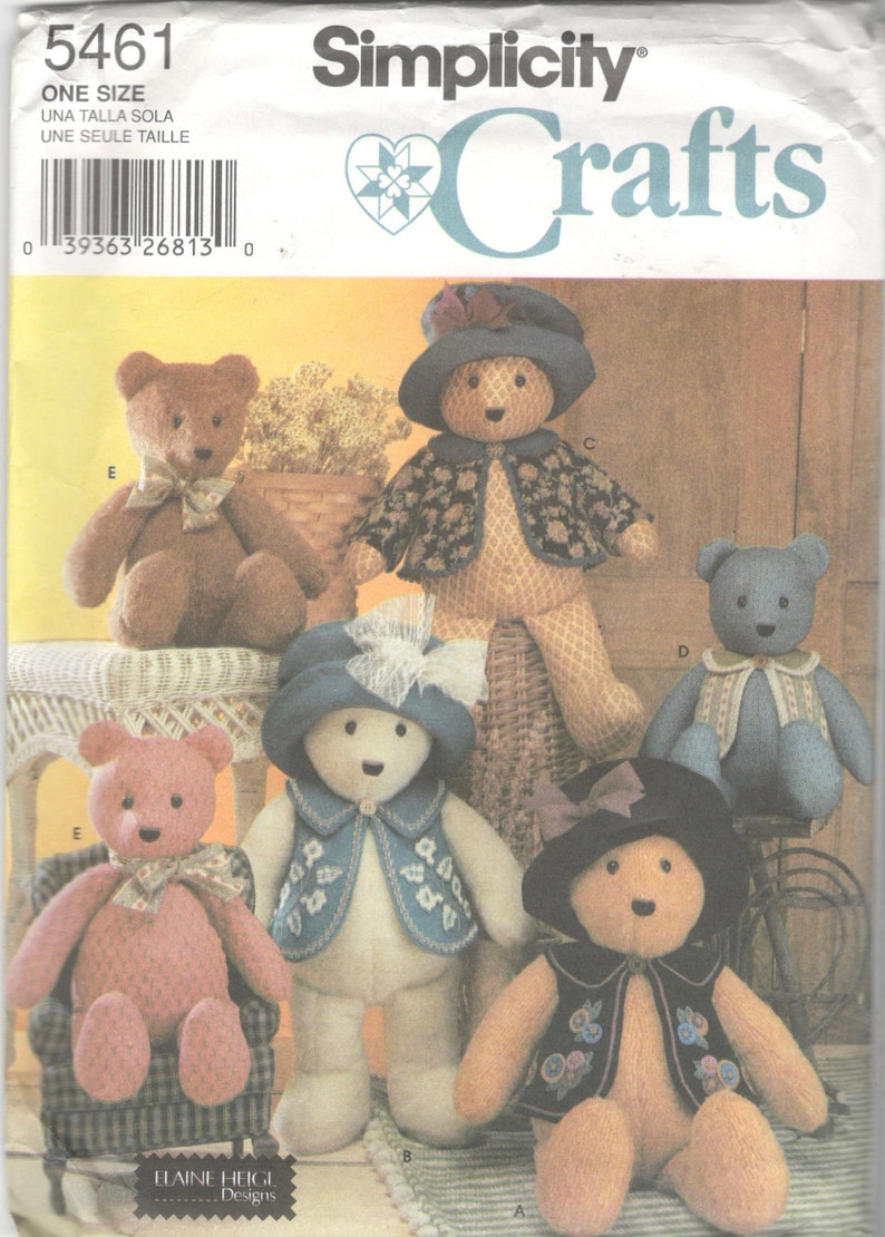 Simplicity 5461 18 and 22 Inch Bear and Bear Clothes Pattern Stuffed Animal Vest Hat Designer Elaine Heigl Toy Sewing Pattern 13 and 18 Inch
