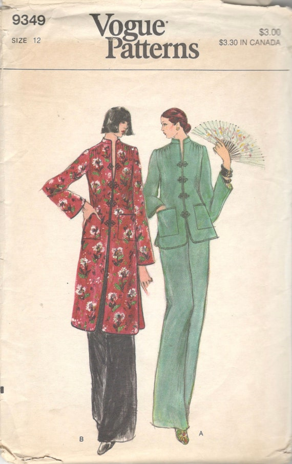 Vogue 9349 1970s Sleek Oriental Top And Pants Pattern Tunic Etsy