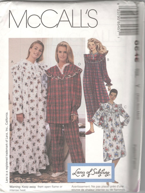 McCalls 8545 Misses Pajamas and Pullover Nightgown Nightshirt  8810f01a0