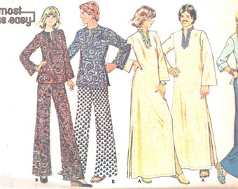 McCalls 4805 1970s Mens CAFTaN Top Pants Pajamas Pattern Adult Teen Vintage Sewing Pattern UNCUT Size Small Chest 34 36 or M NO ENVELOPE