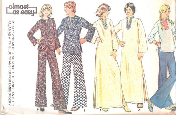 McCalls 4805 1970s Mens Kaftan Top Hose Schlafanzug Muster | Etsy
