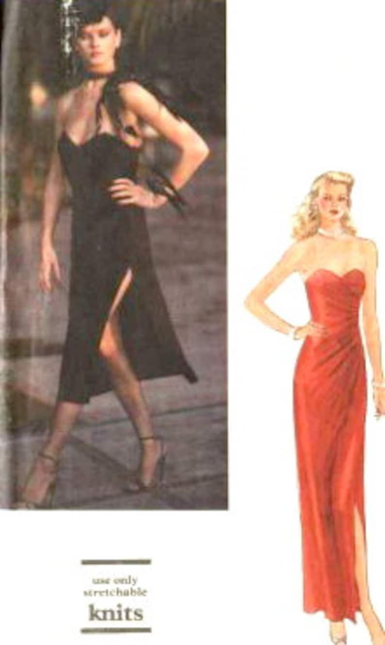 Vogue 7371 1970s Strapless Cocktail Dress Pattern For Knits Asymmetrical Draping Womens Vintage Sewing Pattern Size 12 B 34 Or 12 Or 6 UNCUT
