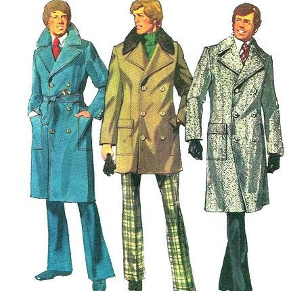 Einfachheit 5326 1970s Mens Zweireiher Trenchcoat Muster