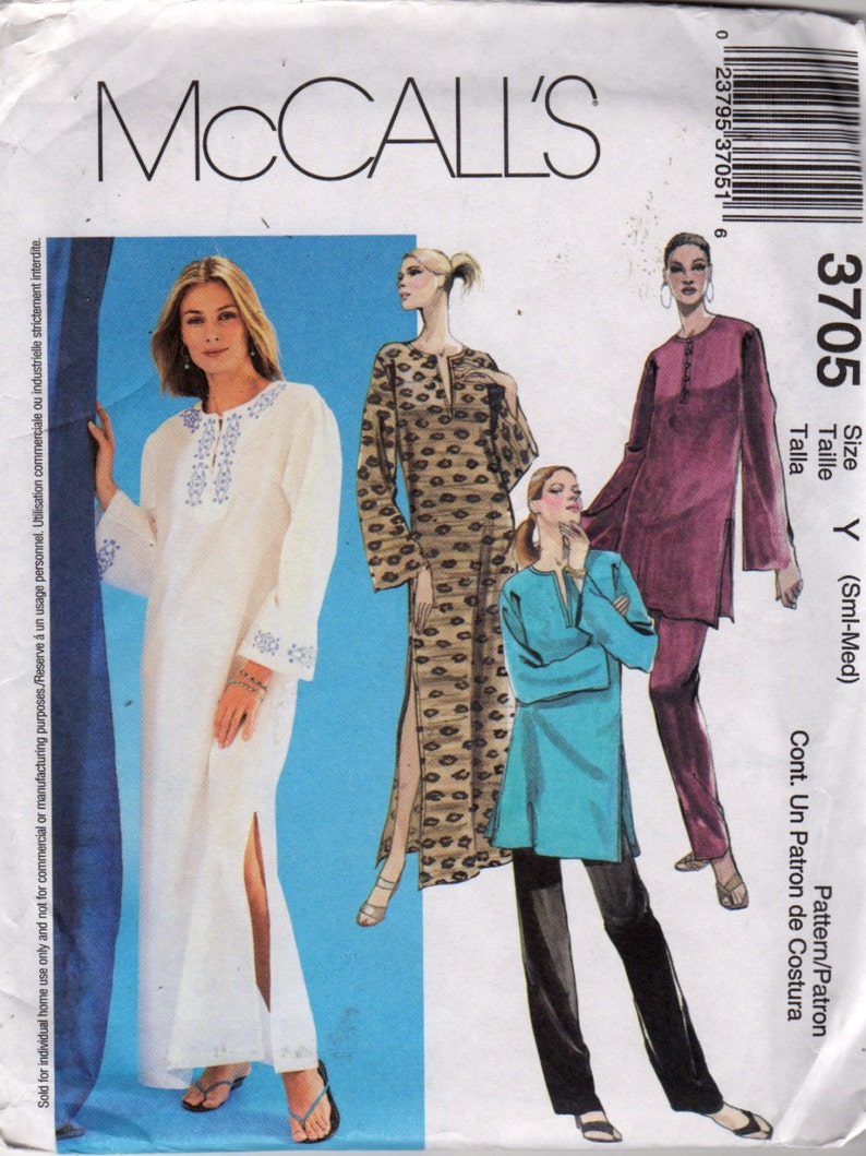 McCalls 3705 Misses Pullover CAFTAN Tunic Top and Pull On Pants Pattern Womens Vintage Sewing Pattern Size Lg XL Bust 38-44 Or S M UNCUT