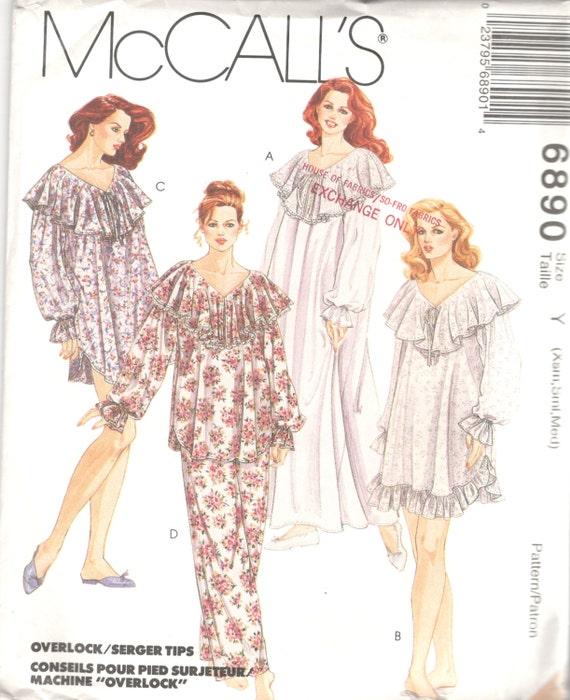 McCalls 6890 1990s Misses Romantic Nightgown Nightshirt and  c2c64709f