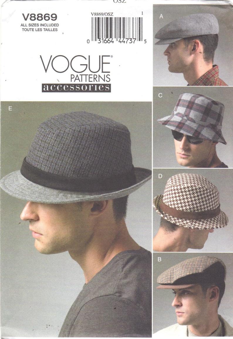 6f510657f8e0d Vogue 8869 Mens Hats Pattern Beret Fedora Bucket Cap Trilby