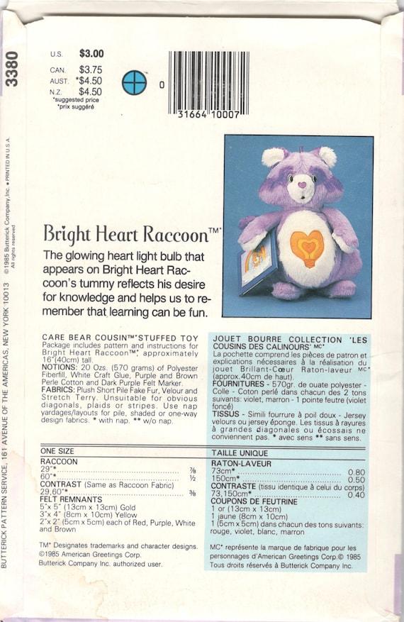 Butterick 3380 1980s corazón brillante mapache cuidado oso | Etsy