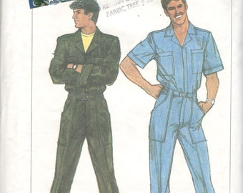 Simplicity 7115 1980s Mens Zip Front JUMPSUIT Pattern Cargo Pockets Adult Vintage Sewing Pattern Chest 42