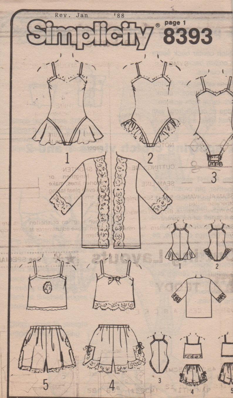 986f2aa29 Simplicity 8393 80s Lingerie Pattern Kimono Tap Shorts