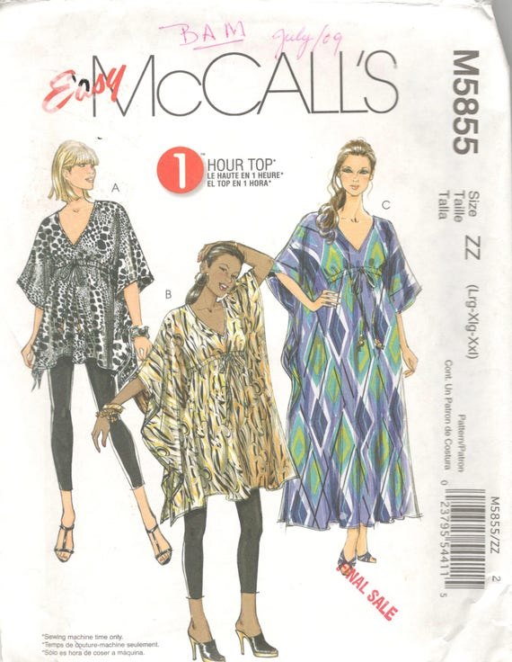 McCalls 5855 Misses Easy Pullover Caftan Tunic Top Pattern | Etsy