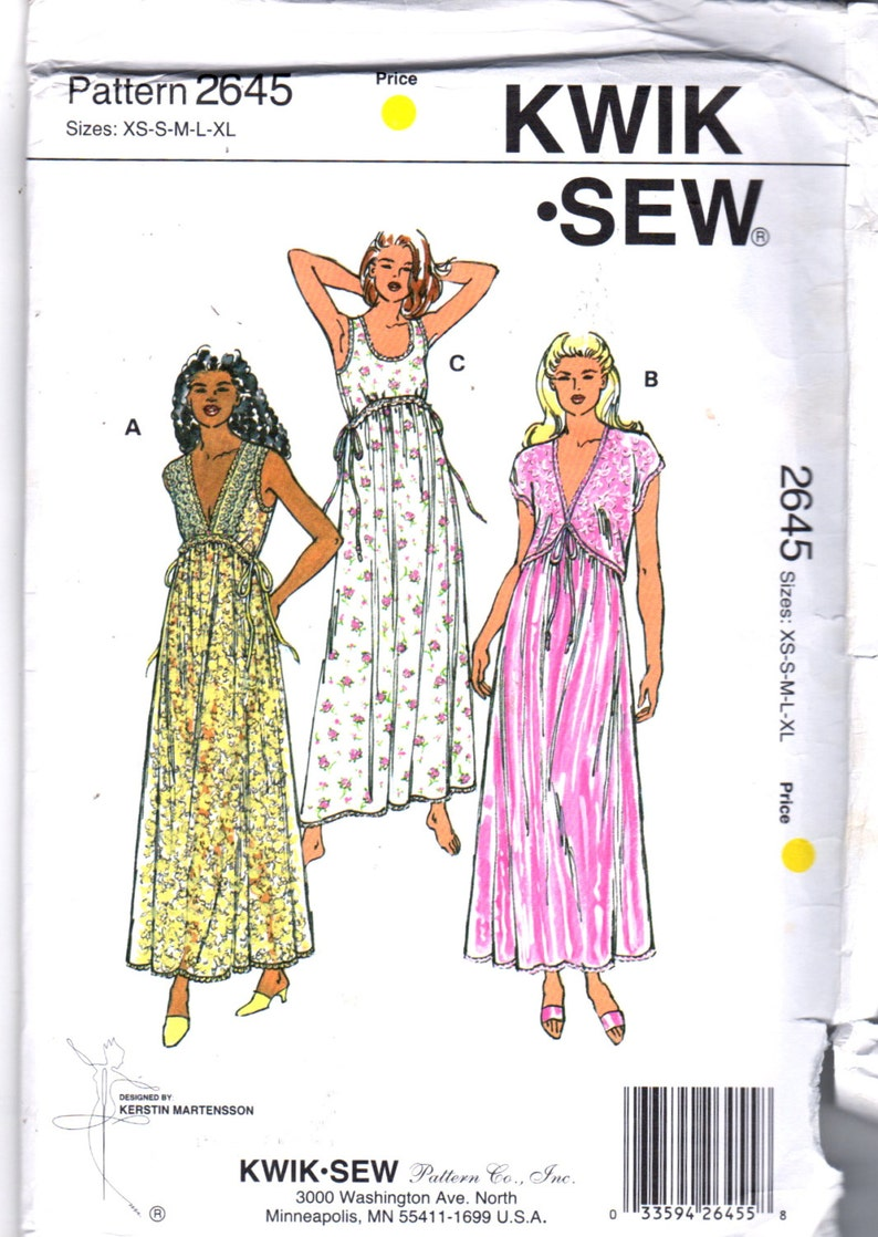 2c6875c040e7 Kwik Sew 2645 Misses Lingerie Feminine Nightgown and Bolero | Etsy