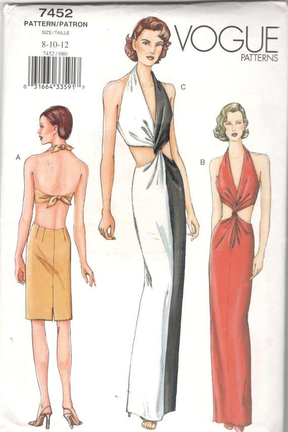 Vogue 7452 Misses Low V Neck Halter Evening Dress Pattern Bare | Etsy