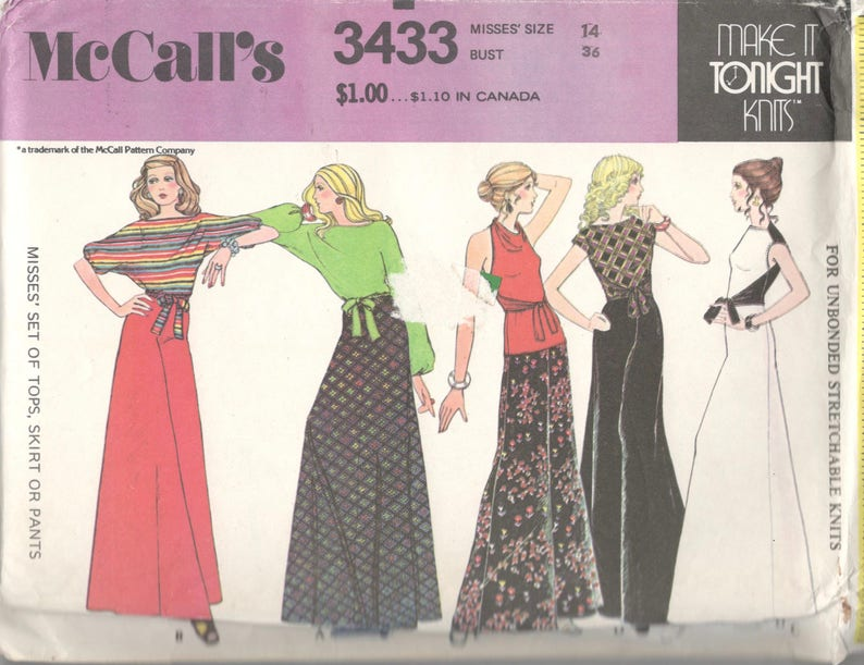 bdd9bab427360 1970s McCalls 3433 Misses Wrap Halter Pullover Tops Maxi Skirt Palazzo  Pants Pattern Women Vintage Sewing Pattern Easy Size 14 ...