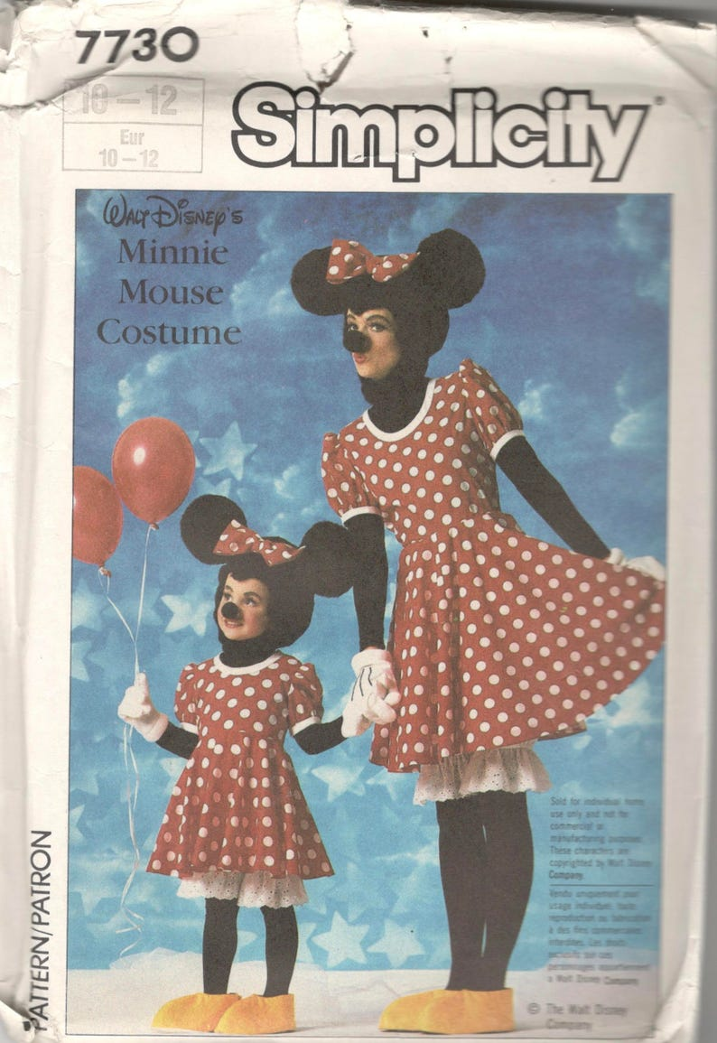 02530b996bb02 Simplicity 7730 1980s Girls MINNIE MOUSE Costume Pattern