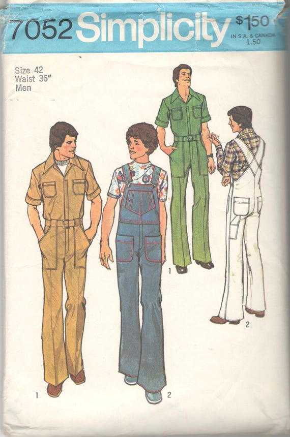 Einfachheit 7052 1970s Mens Latzhose Muster Jumpsuit Overalls   Etsy