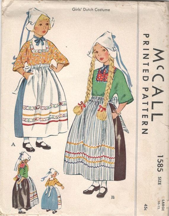 McCall 1585 1950s Holländerin Kostüm Muster Bluse Schürze Rock | Etsy