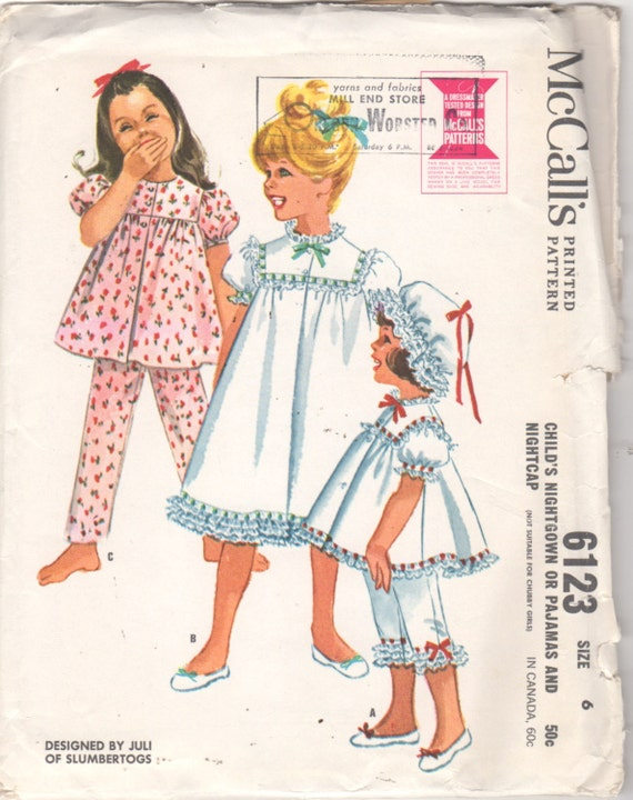 McCalls 6123 1960s Mädchen Spitzen Nachthemd Schlafanzug und   Etsy