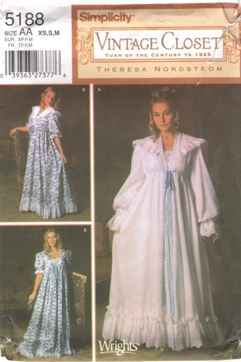 c33747c276 Simplicity 5188 Misses VICTORiAN Nightgown Robe Pattern Turn