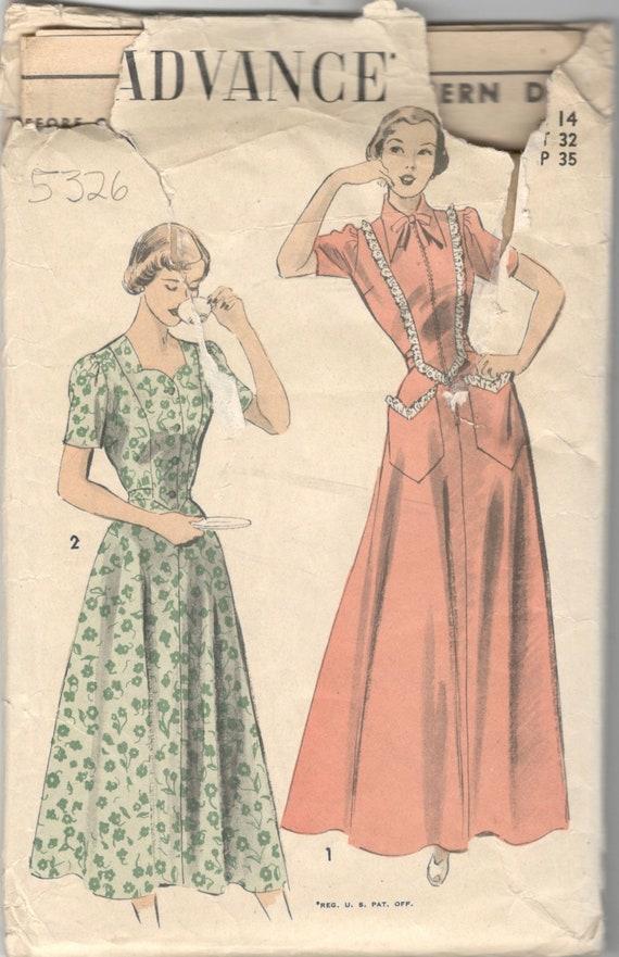 Advance 5326 1940s Zip devant robe-tablier et patron de couture robe motif  Sweetheart encolure Womens Vintage taille 14 buste 32 FF