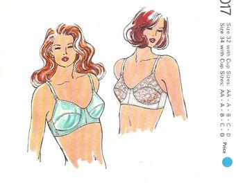 Kwik Sew 1017 1980s Misses Designer Bra Pattern Womens Vintage Lingerie Sewing Pattern Size 32 AA - 34 D Uncut