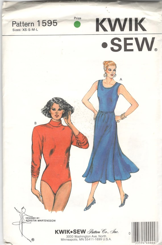 1980s Kwik Sew 1595 Misses High Cut Leg Bodysuit and Flared | Etsy