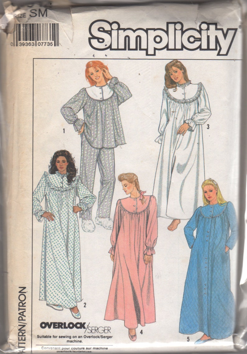 df988d1267 Simplicity 8914 1980s Misses PAJAMAS NIGHTgown RoBE Pattern