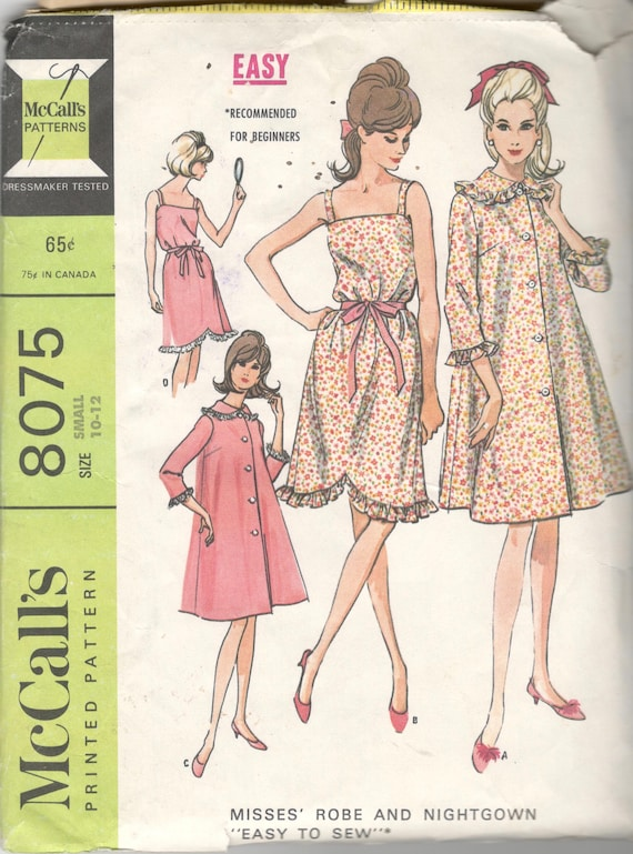 McCalls 8075 1960s Misses Sleeveless Nightgown and Robe  c30e43450