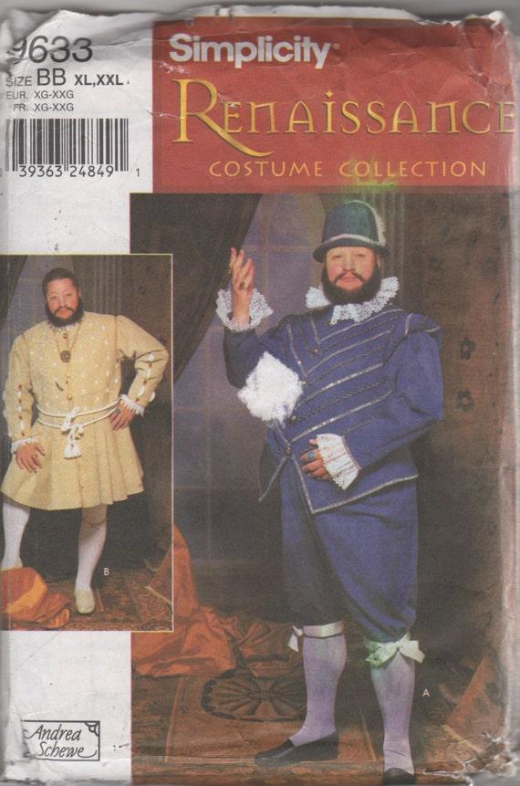 Einfachheit 9633 Mens Renaissance Kostüm Muster Wams Hose Hut | Etsy