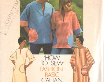 Simplicity 6835 1970s Mens EAsY Pullover CAFTaN andTOP Pattern Adult Vintage Sewing  Pattern Size Sm Chest 34 36 OR Lg Chest 42 44 or Medium