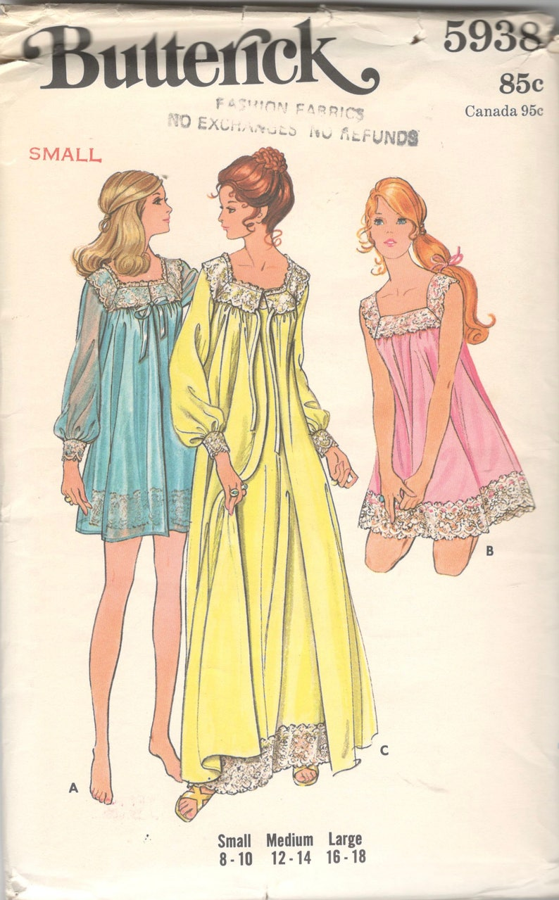 bb478d9e3b Butterick 5938 1970s Misses Nightgown and Robe Pattern Lacy