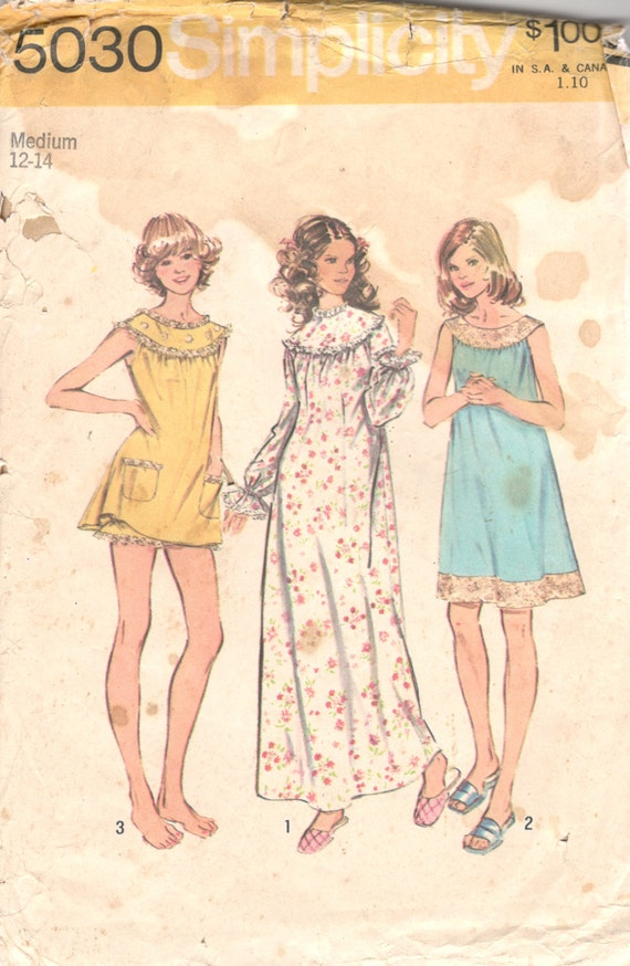 Simplicity 5030 1970s Misses Baby Doll Pajamas Nightgown  0cf4b3256