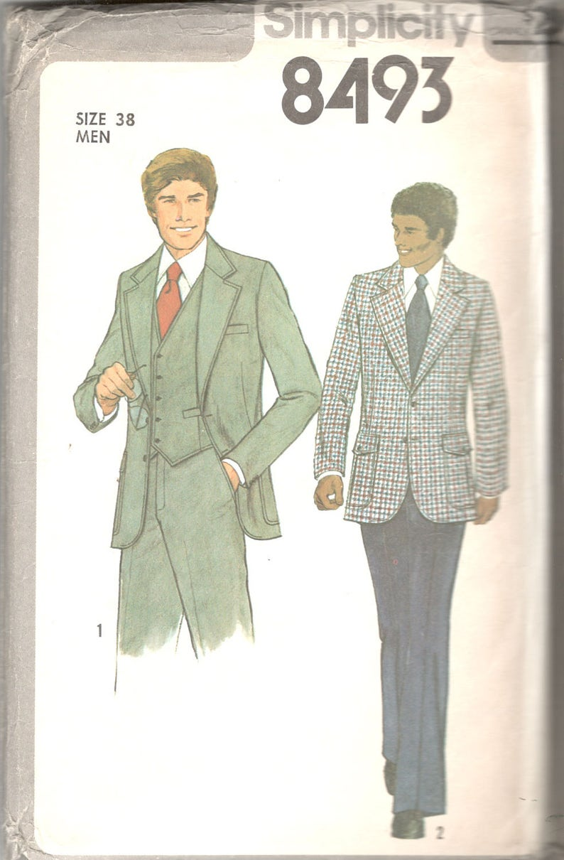 fc3ab59b36e3b Simplicity 8493 1970s Mens Three Piece Suit Pattern Lined | Etsy