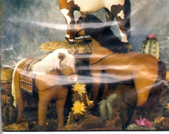 BIE Originals 115 Horses Horses Horses Pattern and Blooming Cacti Too Crafts Painted HorseToy Sewing Pattern UNCUT