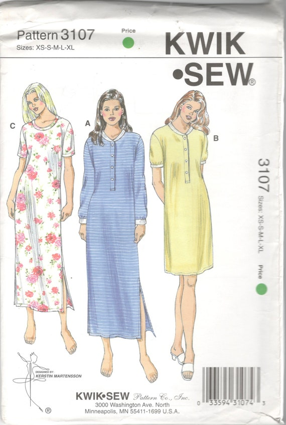 3235dda8a1 Kwik Sew 3107 Misses Pullover Nightgown Pattern Nightshirt