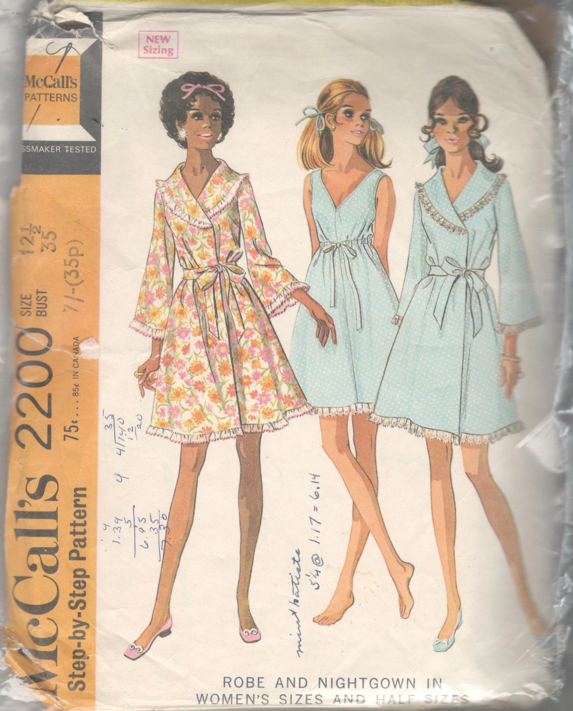 d64e8610dfc McCalls 2200 1960s Front Wrap Robe and Empire V Neck Nightgown Pattern  Womens Half Size Vintage Sewing Pattern Size 12 1/2 Bust 35 Or 20 1/2