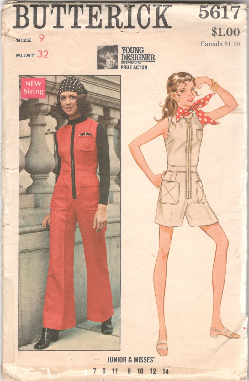 1960s Butterick 5617 Junior Zip Front Romper JUMPSUIT Pattern image 0