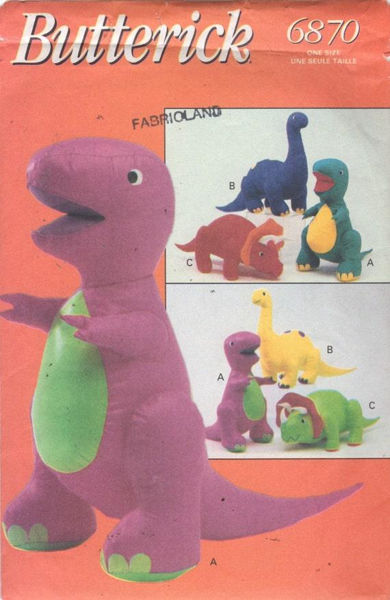 Butterick 6870 Barney 3 Dinosaurier Muster gefüllt Spielzeug