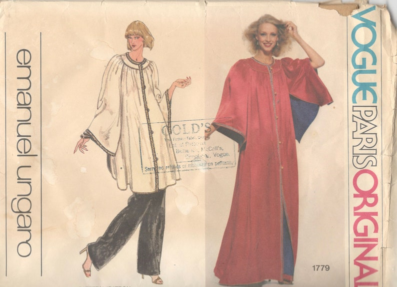 6007897bb5cee2 Vogue 1779 1970s Misses pantalon Caftan Robe Paris Original Emanuel Ungaro  Womens Vintage couture patron taille 12 buste 34 non-coupe et