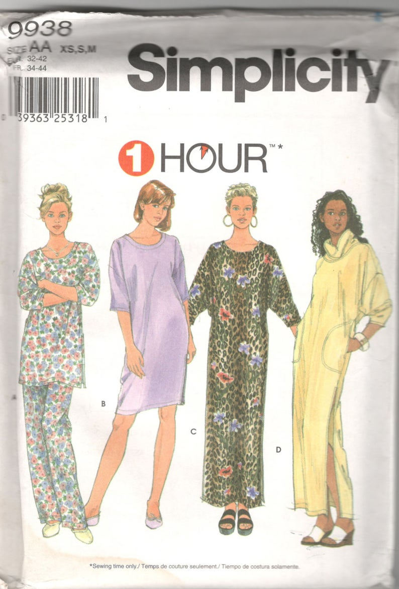 Simplicity 9938 or 7940 1 Hour Misses Pajamas Nightshirt and  abba0a410