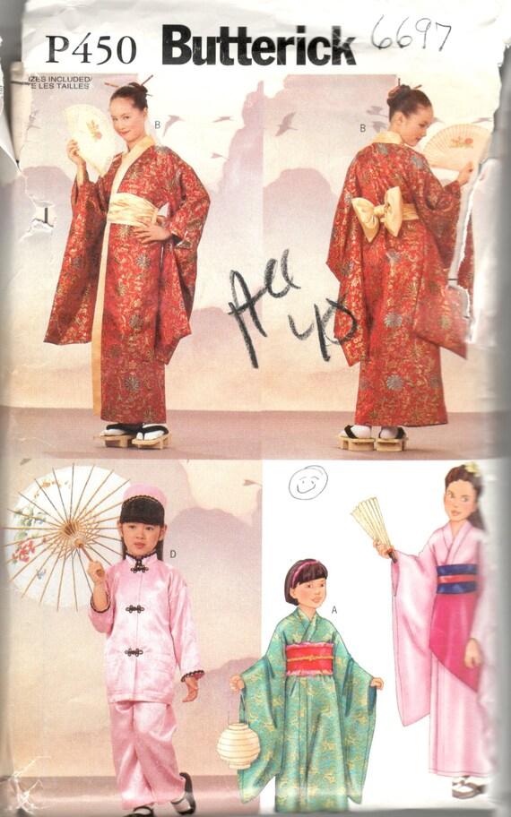 Butterick 6697 P450 Kinder Kostüm Japanische Kimono Robe Obi | Etsy