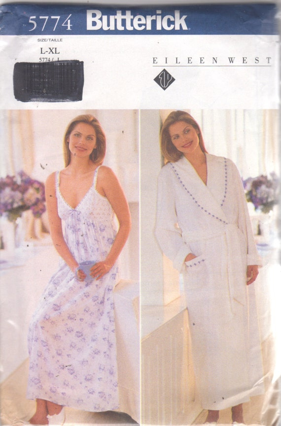 fd422fb891 Butterick 5774 Misses EAsY Nightgown and Wrap Robe Pattern