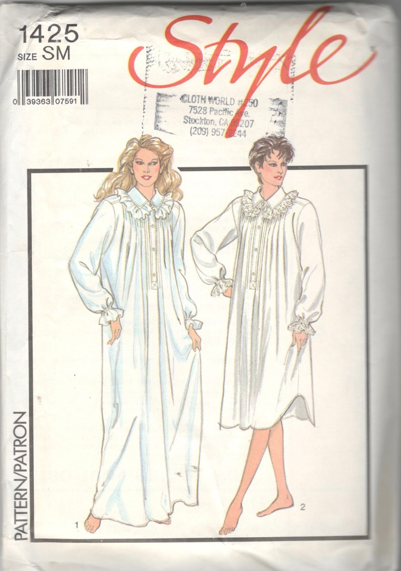 e5d61eff3d Style 1425 1980s Misses Victorian Nightgown Nightshirt Nightdress Pattern  Pin Tu... Style 1425 1980s Misses Victorian Nightgown Nightshirt Nightdress  ...