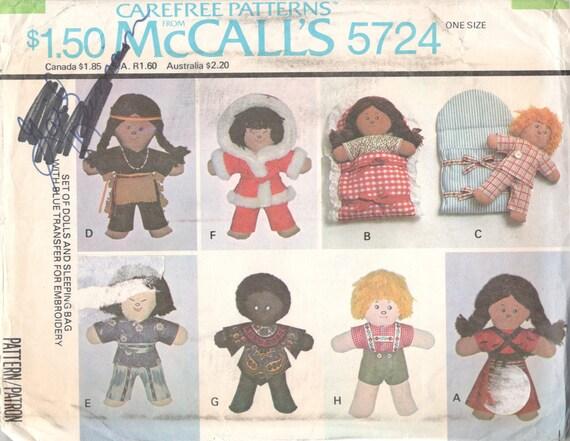 Sewing Pattern Soft Stuffed Dolls International Doll 10 inch Fabric Dolls Doll Clothes McCall/'s 5724 Fabric Dolls Doll Sleeping Bag