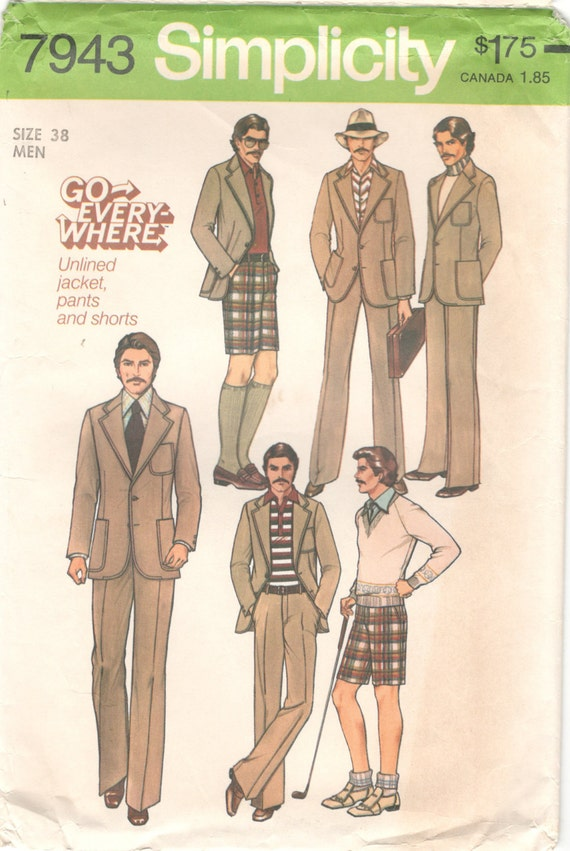 Simplicity 40 40s Mens Suit Pants Shorts And Jacket Etsy Mesmerizing Mens Suit Sewing Patterns