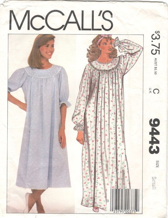1980s McCalls 9443 Misses Nursing Gown Pattern Nightgown | Etsy