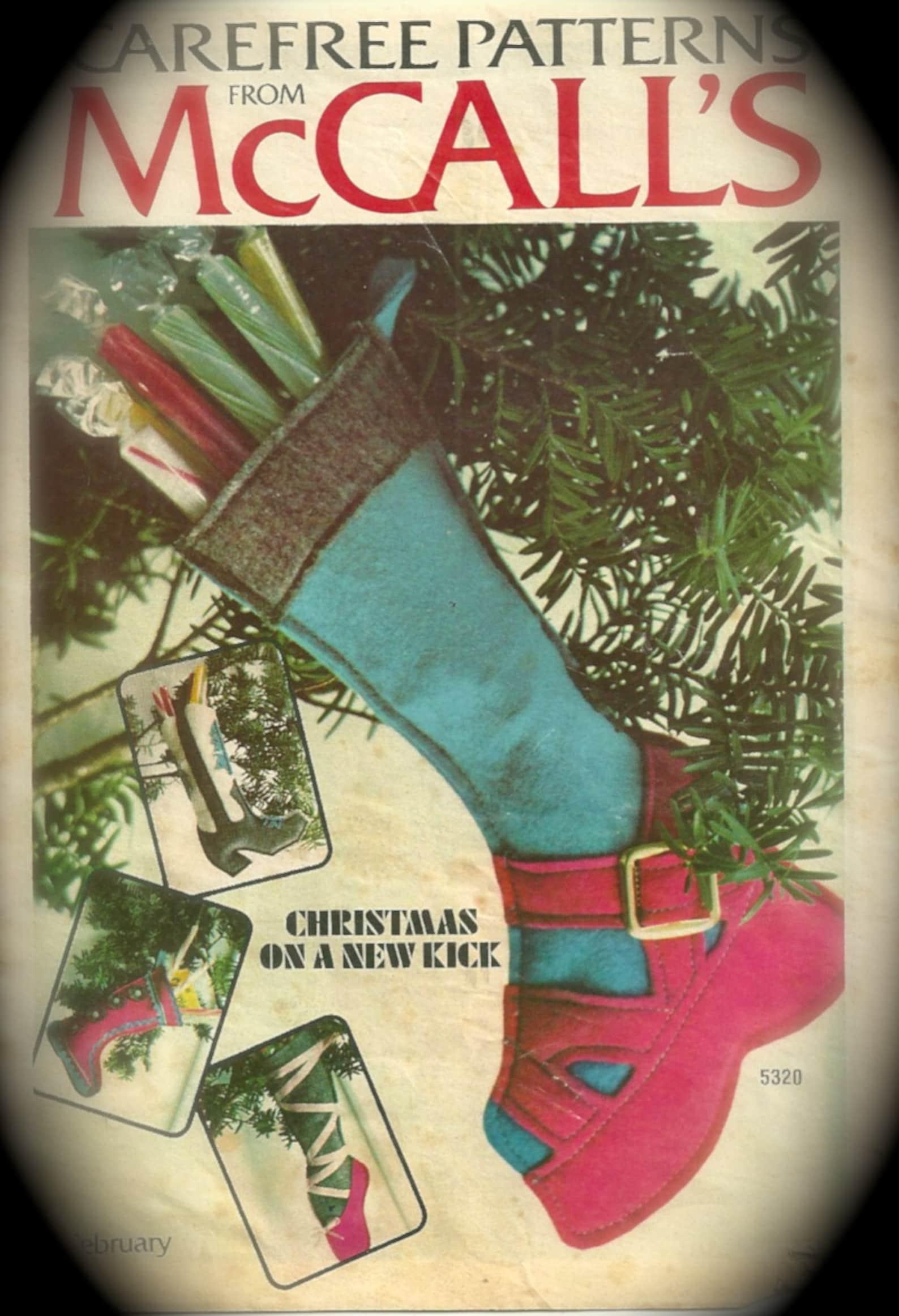 mccalls 5320 christmas stockings pattern ballet slipper skater runner mukluk cowboy boot fireman vintage funky shoe sewing patte